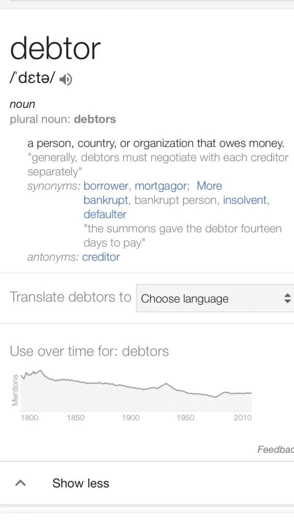 Debtor definition