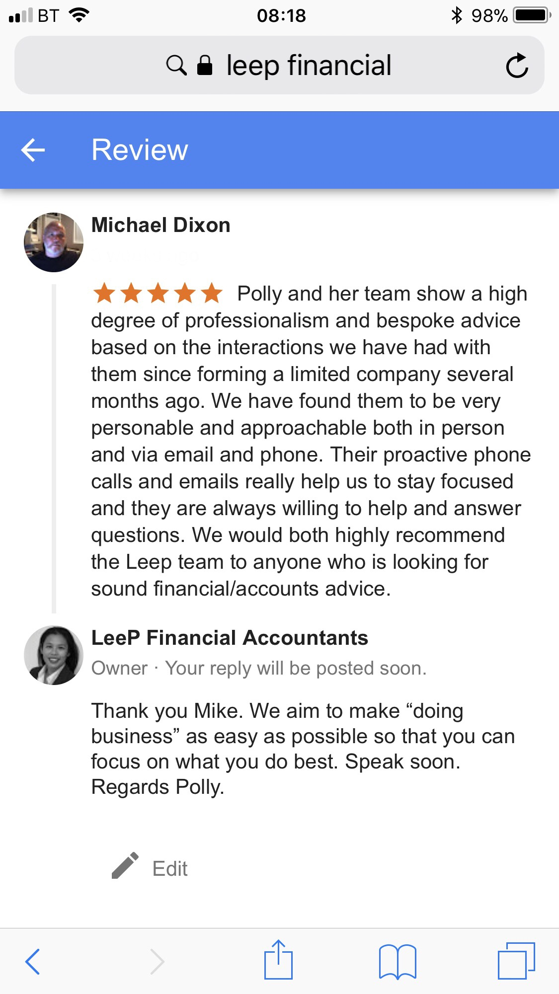 LeeP Financial Accountants Google review